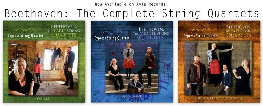 Beethoven Complete Quartets on Avie Banner